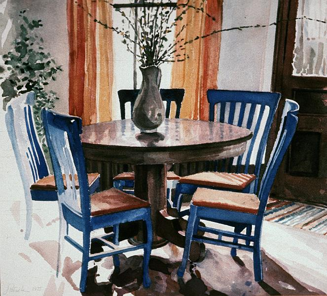 watercolors archived iowa city dining room with blue chairs 1975 12x14